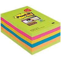 Post-it Super Sticky Notes, 101x152mm, Bright Rainbow, Pack 6 x 90 Notes