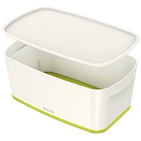 Leitz MyBox Plastic Storage Box with Lid, Small, White & Green