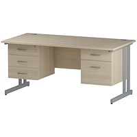 Trexus 1600mm Rectangular Desk, Silver Legs, 2 Pedestals, Maple