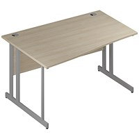 Trexus 1400mm Wave Desk, Left Hand, Silver Legs, Maple