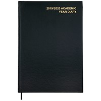 5 Star 2019/20 Academic Diary, Day to a Page, A4, Black