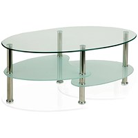 Trexus Berlin Coffee Table With Shelves - Glass