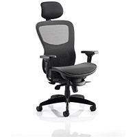 Adroit Stealth Shadow Ergo Posture Chair With Headrest, All Mesh, Black