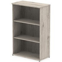 Trexus Medium Bookcase, 2 Shelves, 1200mm High, Grey Oak