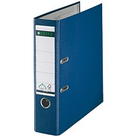 Leitz Foolscap Lever Arch Files, Plastic, 80mm Spine, Blue, Pack of 10