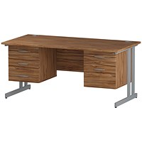Trexus 1600mm Rectangular Desk, Silver Legs, 2 Pedestals, Walnut