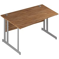 Trexus 1400mm Wave Desk, Left Hand, Silver Legs, Walnut