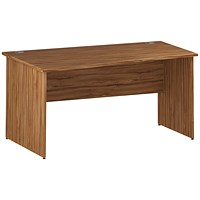 Trexus 1600mm Wave Desk, Left Hand, Panel Legs, Walnut