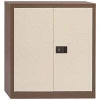Trexus Steel Stationery Cupboard, 1 Shelf, 1000mm High, Coffee & Cream
