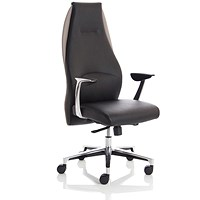 Adroit Mein Leather Chair, Leather, Black on Grey