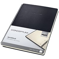 Sigel Conceptum Hard Cover Notebook, A4, Ruled, 4-hole, 160 Pages, Black