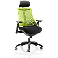 Trexus Flex Task Operator Chair With Headrest, Black Seat, Green Back, Black Frame