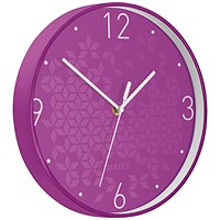 Leitz WOW Wall Clock, 290mm Diameter, Purple