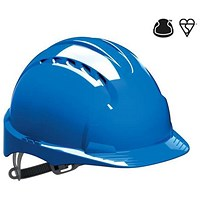JSP EVO2 EN397 Safety Helmet, HDPE 6-point Harness, Blue