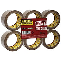 Scotch Heavy Packaging Tape, High Resistance, Hotmelt, 50mmx66m, Brown, Pack of 6