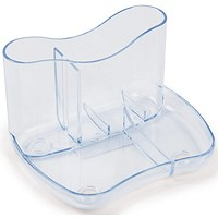 Contemporary Desk Tidy with 4 Compartments - Clear