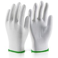 Click 2000 Polyester Knitted Liner Glove, Medium, White, Pack of 10