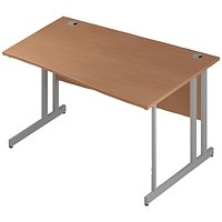 Trexus 1400mm Wave Desk, Right Hand, Silver Legs, Beech