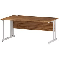 Trexus 1600mm Wave Desk, Left Hand, Cable Managed White Legs, Walnut