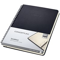 Sigel Conceptum Hard Cover Notebook, A5, Ruled, 160 Pages, Black