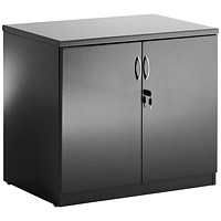 Trexus Desk High Cupboard - High Gloss Black