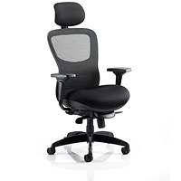 Adroit Stealth Shadow Ergo Posture Chair With Headrest, Airmesh Seat, Mesh Back, Black