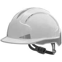 JSP EVOLite EN397 CR2 Safety Helmet, ABS 6-point Harness, Reflective Strips, White