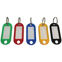 5 Star Key Fob with Label, 50x22mm, Assorted, Pack of 20