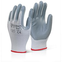 Click 2000 Nitrile Foam Polyester Glove, Medium, Grey, Pack of 100
