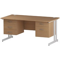 Trexus 1600mm Rectangular Desk, White Legs, 2 Pedestals, Oak