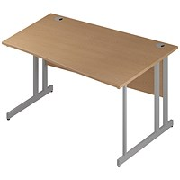 Trexus 1400mm Wave Desk, Right Hand, Silver Legs, Oak