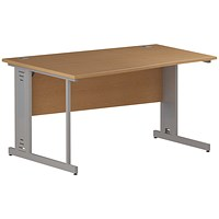Trexus 1400mm Wave Desk, Left Hand, Cable Managed Silver Legs, Oak