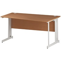 Trexus 1600mm Wave Desk, Right Hand, Cable Managed White Legs, Beech