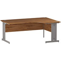 Trexus 1800mm Corner Desk, Right Hand, Cable Managed Silver Legs, Walnut
