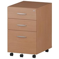 Trexus 3 Drawer Mobile Pedestal, Beech