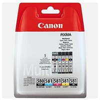 Canon PGI-580/CLI-581 Ink Cartridges- Black, Cyan, Magenta, Yellow and Pigment Black (5 Cartridges)
