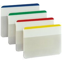 Post-it Strong Flat Index Filing Tabs, Six Each of 4 Colours, Assorted, Pack of 24 X 6