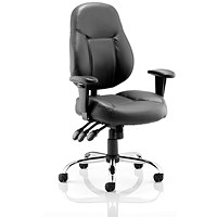 Trexus Storm Leather Task Operator Chair, Black