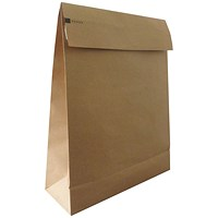Kraft Mailer Eco Expanding Envelopes, 400x500mm, Block Bottom, 100mm Side Gussets, Double Peel and Seal, Manilla, Pack of 50