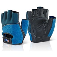 B-Brand Fingerless Gel Gloves, Medium, Blue