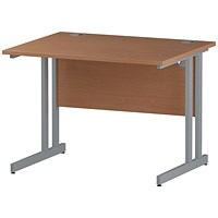 Trexus 1000mm Rectangular Desk, Silver Legs, Beech