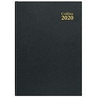 Collins 2020 Desk Diary, Day to a Page, A4, Black