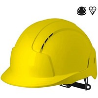 JSP EVOLite EN397 CR2 Safety Helmet, ABS 6-point Terylene Harness, Yellow