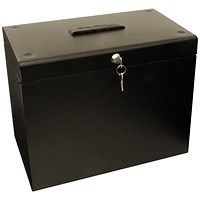 Metal File Box with 5 Suspension Files and 2 Keys, A4, Black