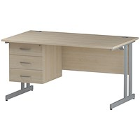 Trexus 1400mm Rectangular Desk, Silver Legs, 3 Drawer Pedestal, Maple