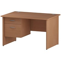 Trexus 1200mm Rectangular Desk, Panel Legs, 2 Drawer Pedestal, Beech