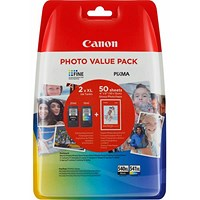 Canon 540XL/541XL High Yield Black/Cyan/Magenta/Yellow Inkjet Cartridges + Photo Pack (2 Cartridges)