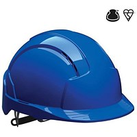 JSP EVOLite EN397 CR2 Safety Helmet, ABS 6-point Terylene Harness, Blue