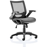 Trexus Fuller Mesh Task Operator Chair, Folding Arms, Black