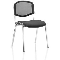 Trexus ISO Chrome Frame Stacking Chair - Black Mesh